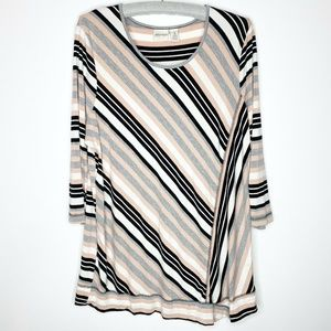 Chico's Zenergy Striped Shirt Top 3/4 Sleeve XL